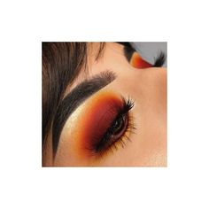 how to wear red orange eyeshadow liked on Poly Orange Eyeshadow Looks, Orange Makeup, Smokey Eyeshadow, Blue Eye Makeup, Smokey Eye Makeup, Eyeshadow Makeup, Makeup Goals, Makeup Inspo, Makeup Inspiration