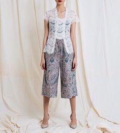 Batik by Amanda Hartanto Kulot Batik, Blouse Batik, Batik Dress, Kimono, Kebaya Lace, Batik Kebaya, Kebaya Dress, Batik Fashion, Ethnic Fashion