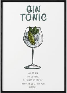 Cocktails Bar, Cocktail Recipes, Gin Tonic Recetas, Bebida Gin, Printable Kitchen Prints, Cocktail Gin, Cocktail Illustration, Paint And Drink, Gin Fizz
