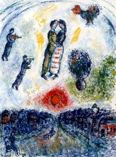 #Marc-Chagall #MarcChagall #Chagall Les Amoureux au Soleil Rouge (1981) Marc Chagall