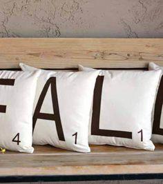 Fall Scrabble Tile Pillows