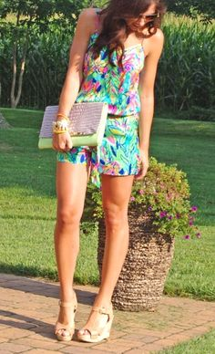 Lilly Pulitzer Deanna Tank Top Romper in Hot Spot worn by Brynn There Wore That