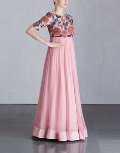 #koelabymrunalinirao #mrunalinirao #koela #hydeeabad Simple Gown Design, Long Dress Design, Simple Blouse Designs, Stylish Dress Designs, Stylish Dresses, Fashion Dresses, Long Gown Dress, Anarkali Dress, Saree Gown