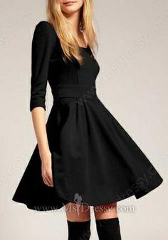 5f568f01e5 Black Vintage Half Sleeve Flare Short Dress Opi