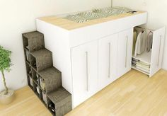 Mezzanine bed with pull out closets