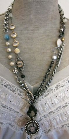 RESERVED for B.R. - a loving heart - vintage assemblage triple wrap necklace with mother of pearl rosaries by the french circus. $32.25, via Etsy.