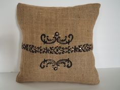 burlap pillow decorative pillow accent cushion by arjeescollections on Etsy