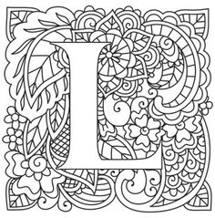 Embroidery Patterns Alphabet Urban Threads New Ideas Etsy Embroidery, Embroidery Letters, Paper Embroidery, Embroidery Designs, Colouring Pages, Printable Coloring Pages, Adult Coloring Pages, Coloring Books, Alphabet Design