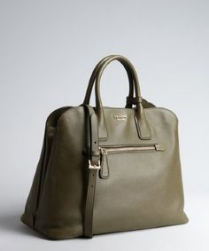 Prada: grey saffiano leather zip top handle bag