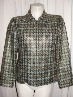 CHICO'S  Jacket 4/6 Green Gold Acrylic/Rayon Blend LS Zip Career Blazer Size 0 S #Chicos #BasicJacket #DressyEveningWeartowork