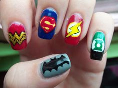 Justice League nail art!  I think Sheldon would love this on Amy Farrah Fowler!