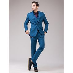 Suits+Slim+Fit+Slim+Notch+Single+Breasted+One-button+3+Pieces+Blue+Straight+Flapped+–+USD+$+79.99
