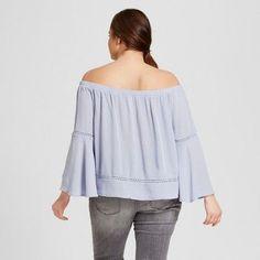 Women's Plus Size Off the Shoulder Top - Xhilaration Blue 1X, Light Blue