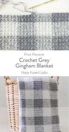 Crochet Grey Gingham Blanket - Free Pattern