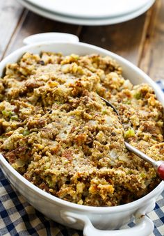 Sausage Stuffing recipe made with ground sausage, onion, celery, sage, and a can of cream of chicken soup. Makes such a flavorful Thanksgiving side. Recipe from Spicy Southern Kitchen Sausage Stuffing, Spicy Sausage, Sausage Recipes, Turkey Recipes, Ground Sausage, Cooking Recipes, Cornbread Stuffing, Fall Recipes, Chicken