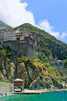 Mount Athos | Dionisiou Monastery Mount Athos, Greece Places To Travel, Places To Visit, The Holy Mountain, Places In Greece, Malta, Famous Places, Thessaloniki, Greece Travel, Greek Islands