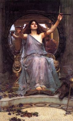Circe Offering the Cup to Odysseus. John William Waterhouse. 1891