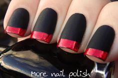 Matte Black with red foil tips, inspired by ModCloth dresses. ~ More Nail Polish but with white tips