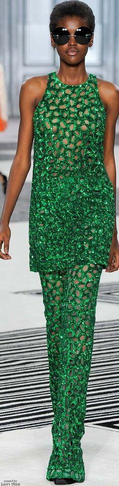 Giambattista Valli ~ Couture Emerald Green Open Weave Nude Tunic + Pant, Fall 2015