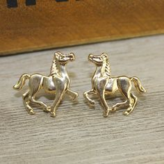 Gold Horse Earrings