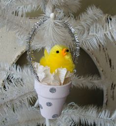 Easter Chic Ornament vintage style pink and by PaperAndMache, $4.00