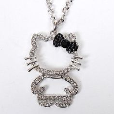 Hello Kitty Figure Necklace Pendant Bowknot Silver $10.90