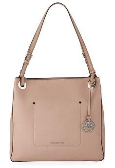 """Walsh Medium Saffiano Tote Bag by MICHAEL Michael Kors. MICHAEL Michael Kors soft saffiano leather tote bag. Silvertone hardware. Adjustable top handles, 9"""" drop. Recessed z..."""