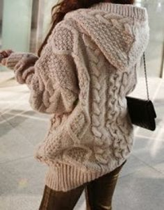 chunky cable knit hoodie?!