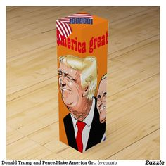 Donald Trump and Pence.Make America Great Again. Wine Box