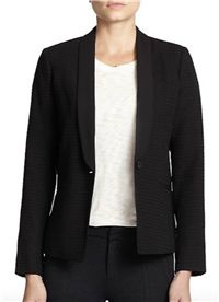 Vince - Textured Blazer: This pick has a tuxedo cut and textured fabric that gives it a bit of festive flare for whatever fun may be coming your way, while still being completely suitable for a day at work.
