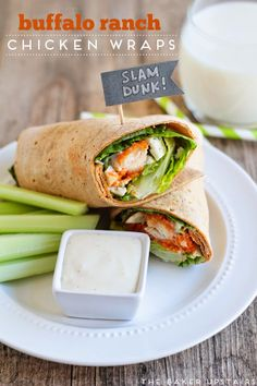 #ad Buffalo ranch chicken wraps - delicious and so easy to make using Tyson® chicken strips and Hidden Valley® Original Ranch® dressing! #forthewin www.thebakerupstairs.com