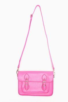 Neon Pink imitation leather satchel $48      ...hmmmm