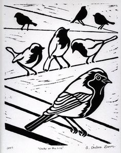 Chatter on the Line - Linocut Print