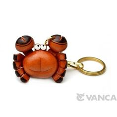 GENUINE 3D LEATHER CRAB KEYCHAIN MADE BY SKILLFUL CRAFTSMEN OF VANCA CRAFT IN JAPAN. #handmade #keyfob #gift #unique #art #design #cute #sea #animal