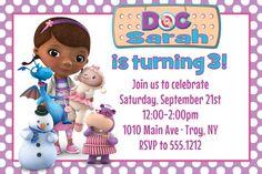 Doc McStuffins Birthday Party Invitation: Printable 4x6 or 5x7