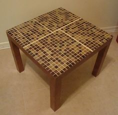 IKEA Hackers: Lack Tables Tiled... idea: turn coffee table into outdoor furniture/table.