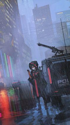 Cyberpunk Anime, Cyberpunk Art, Aesthetic Grunge Tumblr, Aesthetic Anime, Post Apocalyptic City, Guerra Anime, Manga, Anime City, Anime Military