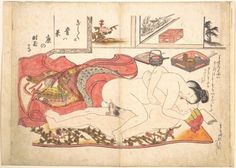 Okumura Masanobu (奥村政信) (1686-1764) - Bedroom Scene, ca. 1739, Polychrome woodblock print; ink and color on paper (hand colored), 27,3 x 38,4 cm, The Met