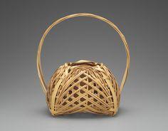 Shono Shounsai (Japanese, 1904-1974): Basket, 1955-1965, madake bamboo (Phyllostachys bambusoides) and rattan; woven in yotsume (square plaiting) and gozame (matting) styles. Museum of Fine Arts, Boston