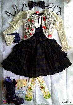 -Angelic Pretty (AP), Baby the Stars Shine Bright (BABY/BtssB), Metamorphose (Meta), Moi-meme-Moitie, Innocent World (IW), Alice and the Pirates (AatP) spring plaid gothic lolita fashion coord  -アンジェリックプリティ ・ベイビーザスターズシャインブライト・メタモルフォーゼ・モワメメモワティエ・イノセントワールド ゴッシクロリータファッション コーディネート