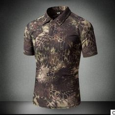 f0baf01c305 Hiking Shirt camping Men's Outdoor Jungle Bionic Camouflage Short Sleeve T- Shirt Male Summer Breathable Quick Dry Lapel Combat Tactical T Shirts Tops  ...