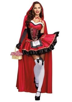 Little red riding hood christmas costume fancy fantasia halloween costumes for women