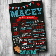First Birthday Teddy Bear Chalkboard Poster Girl by MMChalkboards