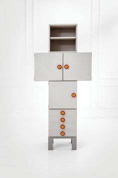 Ettore Sottsass; Lacquered Wood, Melamine and Resin 'Kubirolo' Cabinet for Poltronova, c1967.