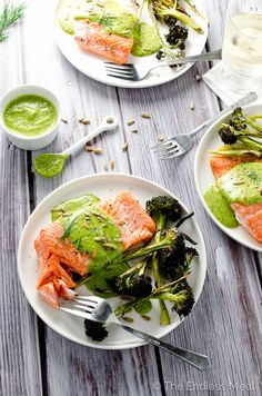 Pan seared salmon, drizzled with a creamy pesto sauce and served with a side of crisped broccoli for a dreamy dinner in no time.