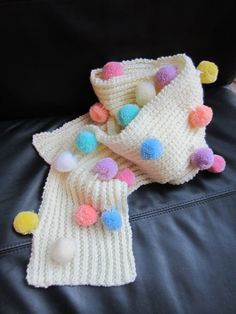 Inspiration - Ladies Cream Hand-Knitted Kawaii Fairy Kei Cute Long Scarf with Multi-Coloured Pom-Poms