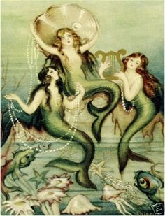 A collection of vintage artworks featuring mermaids. From Halloween Sirens to wine-toting art nouveau mermaids, these hybrid sea-women have never fail. Mythical Creatures, Sea Creatures, Art Nouveau Pintura, Mermaid Poster, Arte Fashion, Mermaid Fairy, Siren Mermaid, Mermaid Lagoon, Baby Mermaid