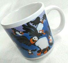Barbara Lavallee Flying Puffins Coffee Tea Mug Arctic Circle 1994 Alaska Bird #FreedomLoveFlowerDinosaurTrademark
