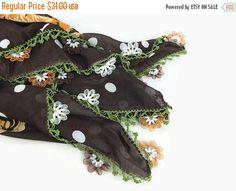 SALE 20% Turkish Oya scarf - Brown Floral - Ribbon Flower Edges - Square Headscarf - Turban Headwrap, boho Tribal gypsy