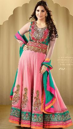 Buy Pink net embroidered floor length heavy  anarkali suit